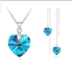 925 Sterling silver baby blue Crystal set